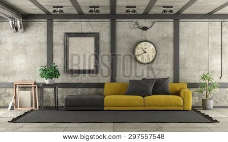 Black And Yellow Sofa In Loft With Concrete Wall And Iron Elements - 3d Rendering