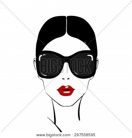 Beautiful Woman Face With Red Lips Make-up And Sunglasses Hand Drawn Vector Illustration. Stylish Or