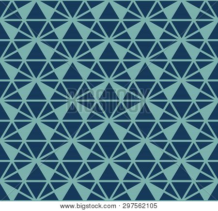 Vector Triangles Pattern. Abstract Geometric Seamless Texture In Navy Blue And Turquoise Color. Simp