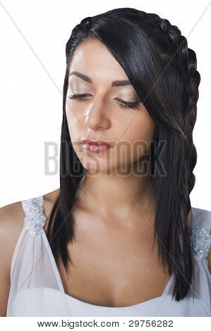 Pensive Brunette Bride's Face Isolated On White Background