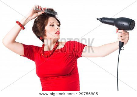 Young Pregnant Woman Styling Your Hair With Hairdryer