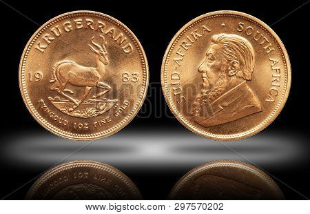 South African Krugerrand 1 Ounce Gold Bullion Coin Gradient Background