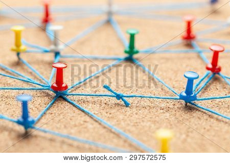 Business Team. Connect Between Business People. Contract Arrangements. Office Pins Connected By Blue