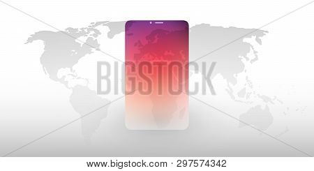 Cloud Computing Design Concept With World Map And Mobile Device - Digital Network Connections, Techn