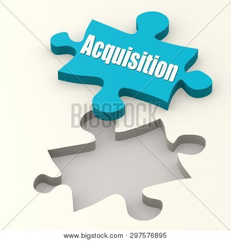 Acquisition On Blue Puzzle With White Background, 3d Rendering