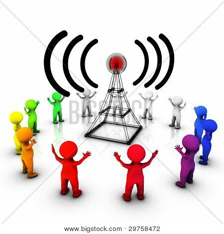 Concept of Radio broadcast informing the public poster