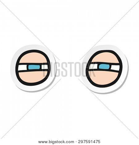 sticker of a cartoon scowling eyes