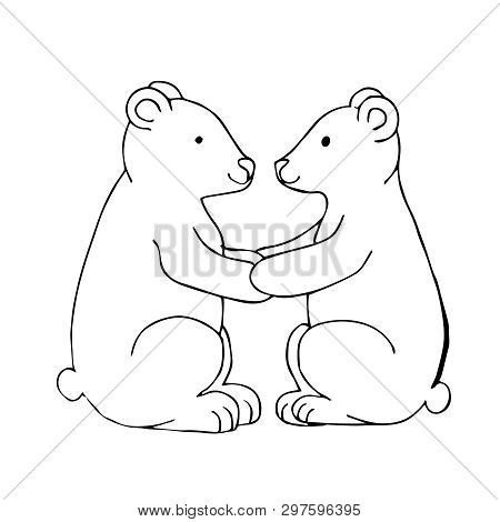 Black White Vector Illustration. Two Polar Bears Sit Facing Each Other And Hold On To Their Paws. Te
