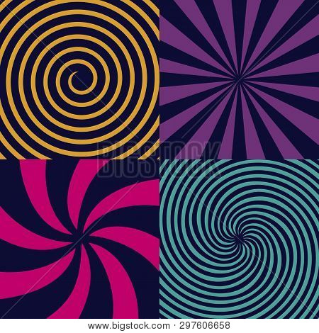 Creative Vector Illustration Of Hypnotic Psychedelic Spiral. Art Design Radial Rays, Twirl, Twisted,