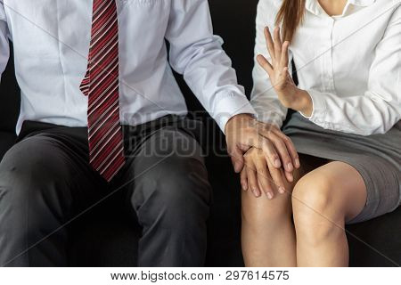 Sexual Abuse. Sexual Harassment At Work, Office Woman And Her Lustful Boss
