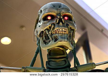 Osaka, Japan - Apr 13, 2019 : Photo Of The T-800 End Skeleton From The Terminator 3d,terminator 6 Da