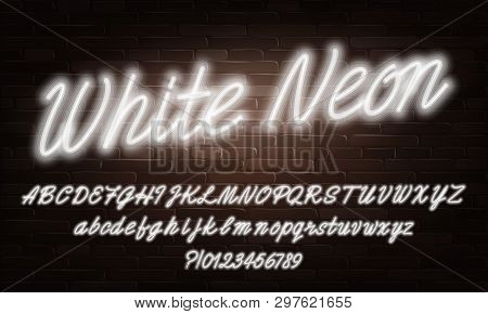 White Neon Script Alphabet Font. Neon Color Lowercase And Uppercase Bright Letters And Numbers. Stoc