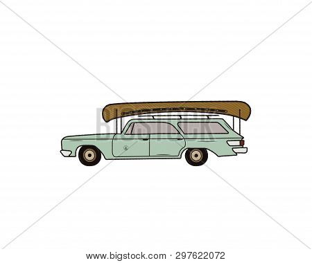 Vintage Hand Drawn Camp Car. Retro Transportation With Canoe. Old Style Automobile. Perfect For T-sh