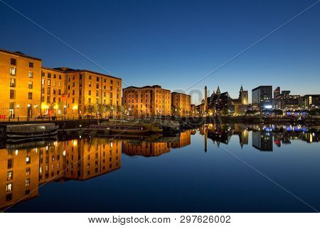 Nighttime View Of Salthouse Docks Next To The Albert Dock In The Cultural Quarter Of Liverpool. Take