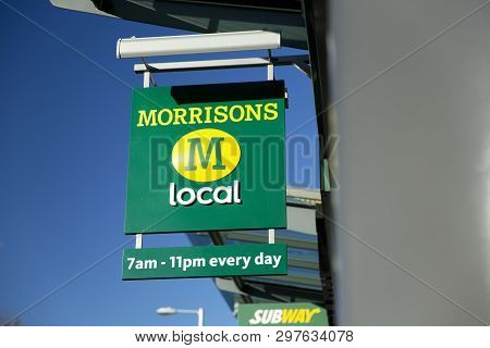 The Sign And Branding For A Morrisons Local Convenience Store In Manchester, Uk - 19th November 2013