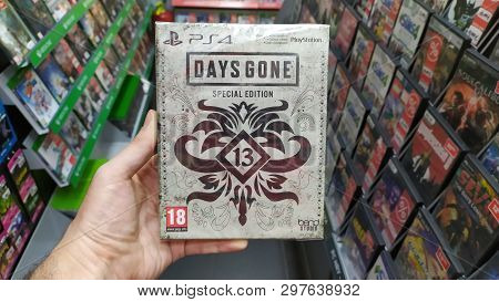 Bratislava, Slovakia, April 25, 2019: Man Holding Days Gone Special Edition Videogame On Sony Playst
