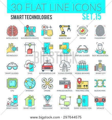 Set Of Modern Filled Outline Icons Of Wearable Technology, Smart Technology And Other Modern Technol