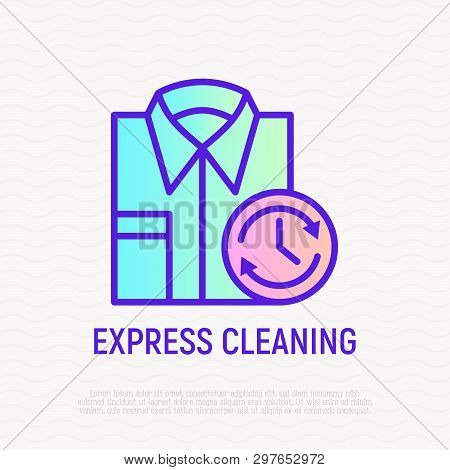 Express Cleaning: Folded Shirt With Timer. Thin Line Icon For Laundry Logo. Modern Vector Illustrati
