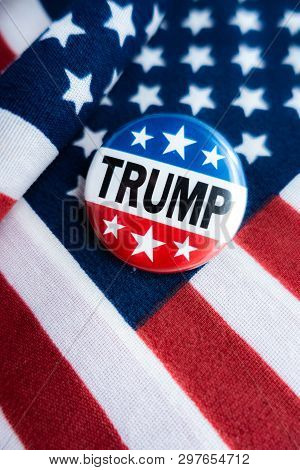 Selinsgrove, Pa - April 12, 2019 : Trump-pence 2020 Badge Shot Over United States Of America Flag -