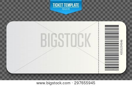 Creative Vector Illustration Of Empty Ticket Template Mockup Set Isolated On Transparent Background.