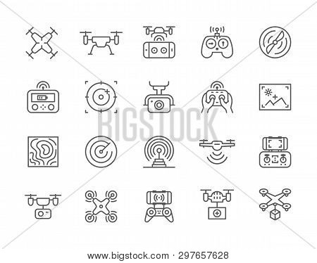 Set Of Drone Line Icons. Remote Controller, Propeller, Action Camera And More.
