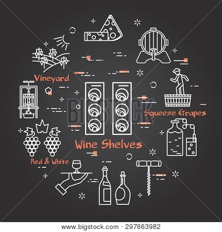 Vector Linear Round Web Banner Of Viticulture, Winemaking And Storage. Wine Shelves Icon In Center A