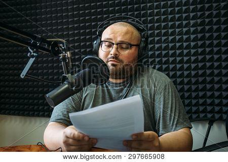 Funny Radio Presenter Or Host In Radio Station Studio, Portrait Of Working Man.