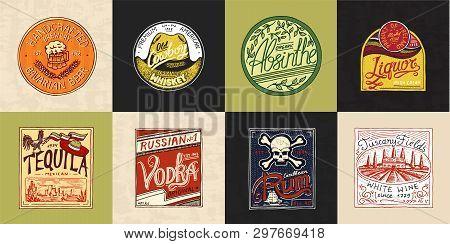 Alcohol Label With Calligraphic Elements. Vintage American Badge. Absinthe Tequila Vodka Liqueur Rum