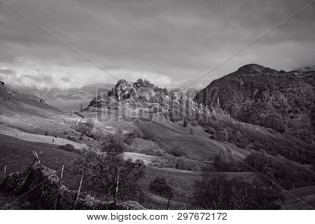 The Black And White Image Of Two Crags Castle Crag And Raven Crag Are Located In The North Western F