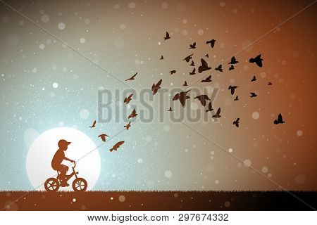Boy On Bike And Pigeons At Sunset. Vector Conceptual Illustration With Silhouettes Of Child On Bicyc
