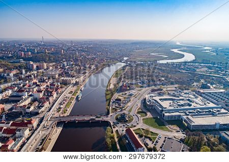 Aerial Drone View On Gorzow Wielkopolski And Warta River.