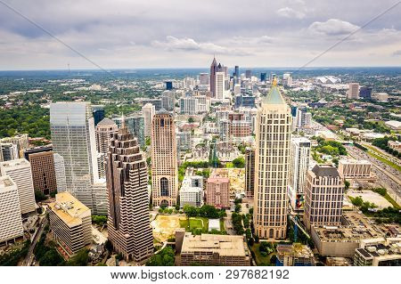 Aerial View Midtown Atlanta Skyline, Shot In Atlanta Georgia
