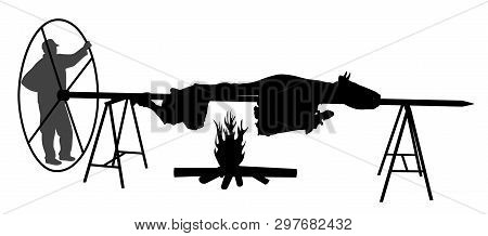 Man Roasting Ox On Spit. Isolated White Background. Eps File Available.