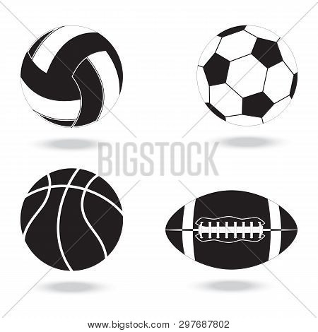 Black And White Icons Of  Balls. Balls For Volleyball, Football, Basketball And American Football.