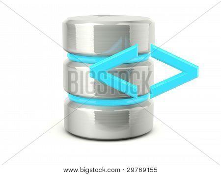 Metallic execute data base icon