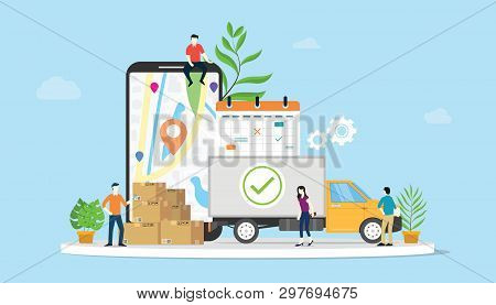 Online Delivery Goods Ecommerce Concept With Team People Truck And Mobile Apps Smartphone - Vector I