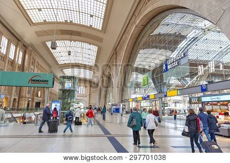 Leipzig, Germany - October 2018: Interior Of Leipzig Hauptbahnhof, Central Railway Terminal Station
