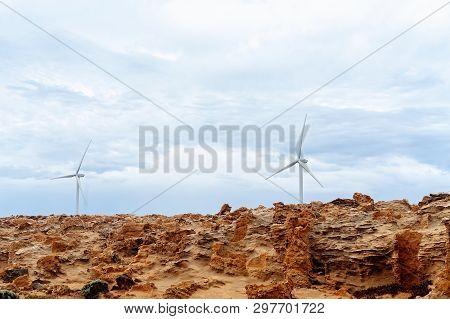 Wind Turbine On A Petrified Forest Australia