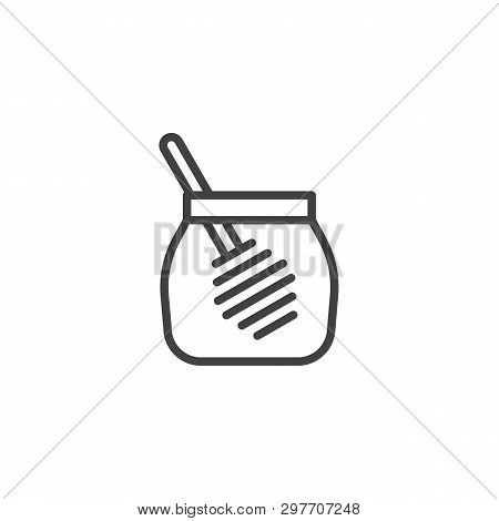 Honey Jar With Dipper Line Icon. Linear Style Sign For Mobile Concept And Web Design. Glass Jar Of H