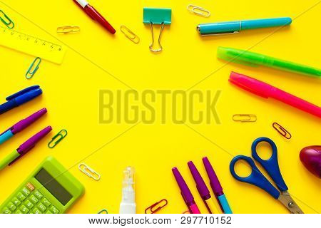 School And Office Supplies. Workspace Top View, Copy Space. Desk Office With Pencil, Notebook, And O