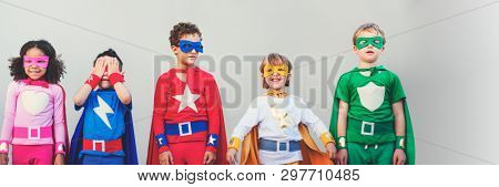 Diverse superhero kids with superpowers