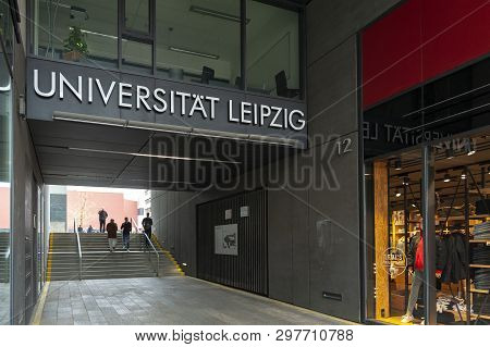 Leipzig, Germany - October 2018: Entrance To Compound Of Leipzig University From Grimmaische Street