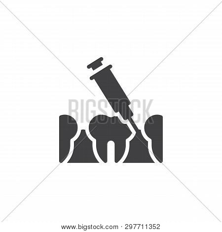 Dental Injection Vector Icon. Syringe And Anesthetizing Teeth Filled Flat Sign For Mobile Concept An