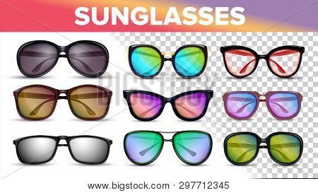 Sunglasses Various Styles And Types 3d Vector Set. Stylish Sunglasses With Color Lens Isolated Clipa