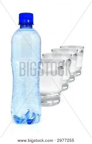 Blue Bottle And Glasses Of Water