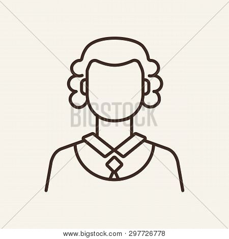 Judge line icon. Lawsuit, jury, woman. Justice concept. Vector illustration can be used for topics like law enforcement, court, law poster