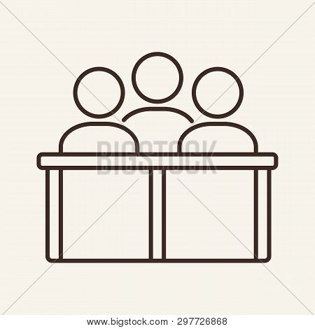Jury line icon. Team, audience, spectators. Justice concept. Vector illustration can be used for topics like court, law, business poster