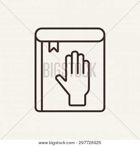 Law Line Icon. Bible, Oath, Witness. Justice Concept. Vector Illustration Can Be Used For Topics Lik