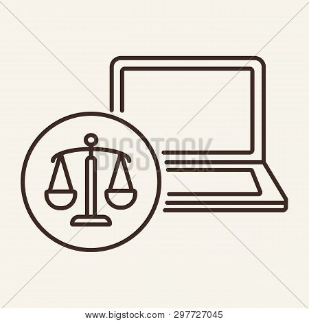 Online Law Office Line Icon. Website, Legal Service, Online Consultancy, Lawyer Counsel. Justice Con