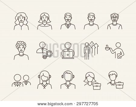 Businesspeople Icons. Set Of Line Icons On White Background. Coffee Break, Manager, Employee. Office